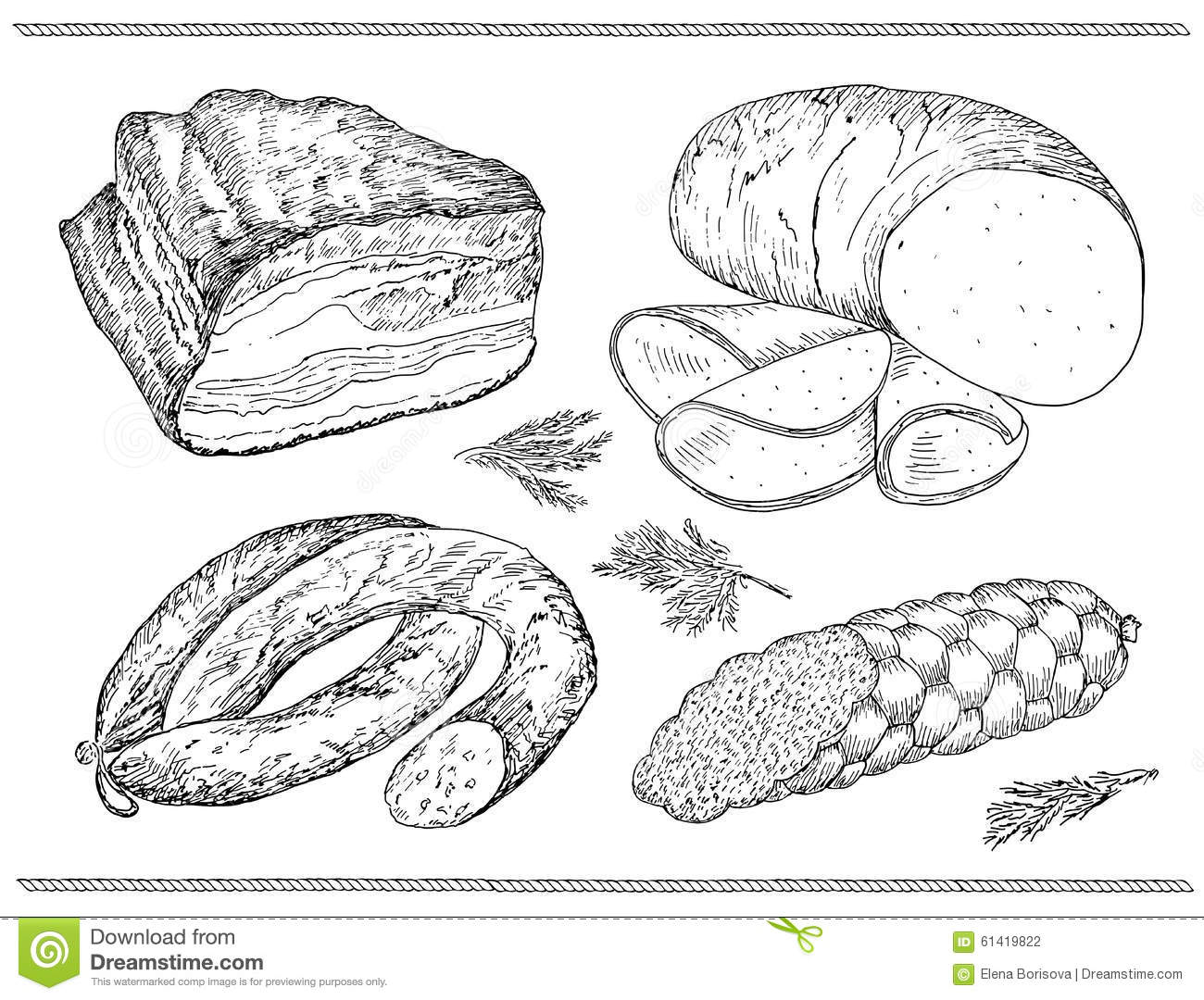 Meat Sausage Set Stock Vector Image Of Salami Image
