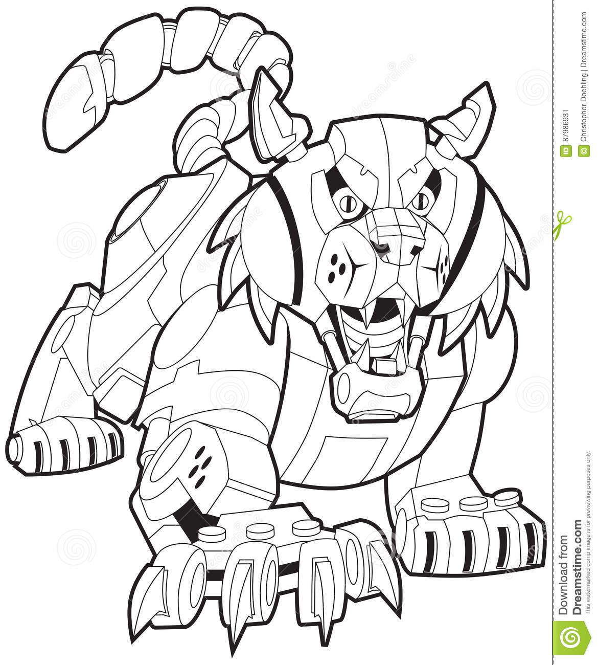 Mechanical Robot Bobcat Or Wildcat Vector Mascot