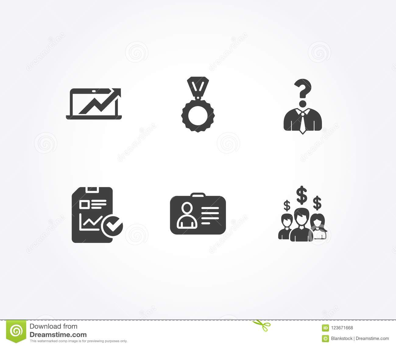 Medal, Id Card And Hiring Employees Icons. Sales Diagram