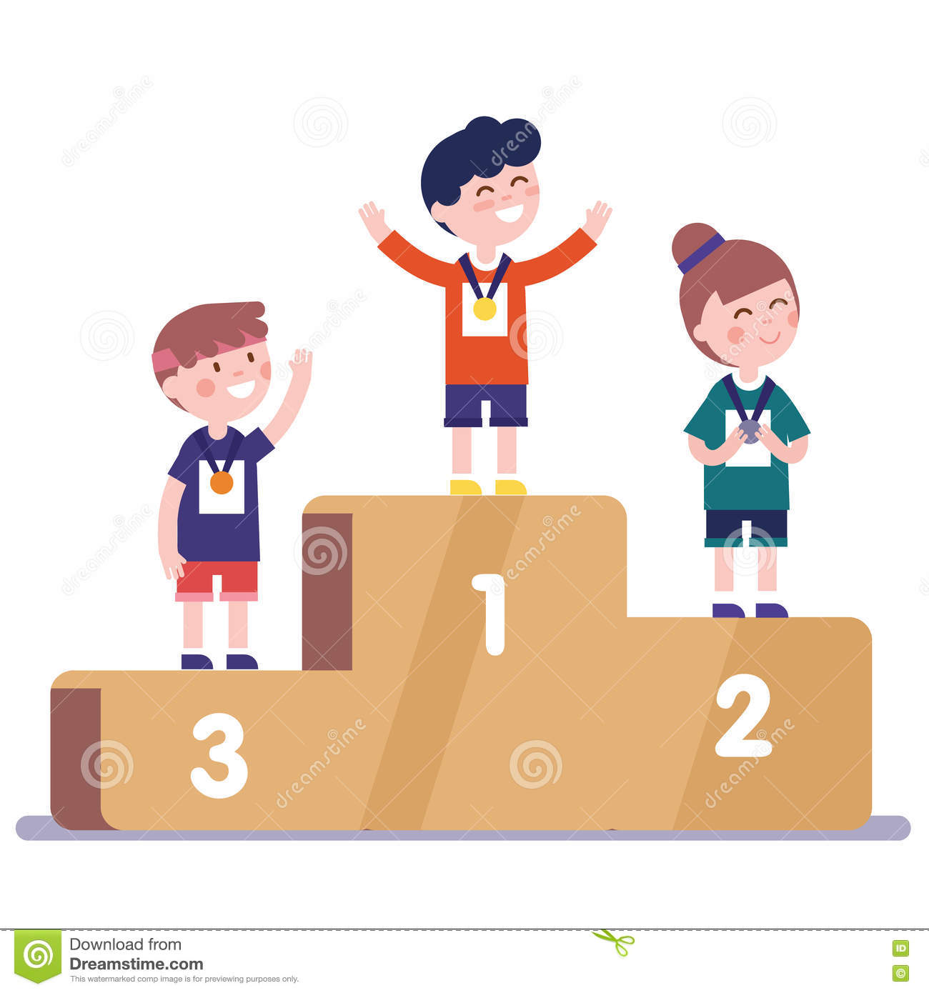Medalists Kids Standing On Winner Podium Stock Vector