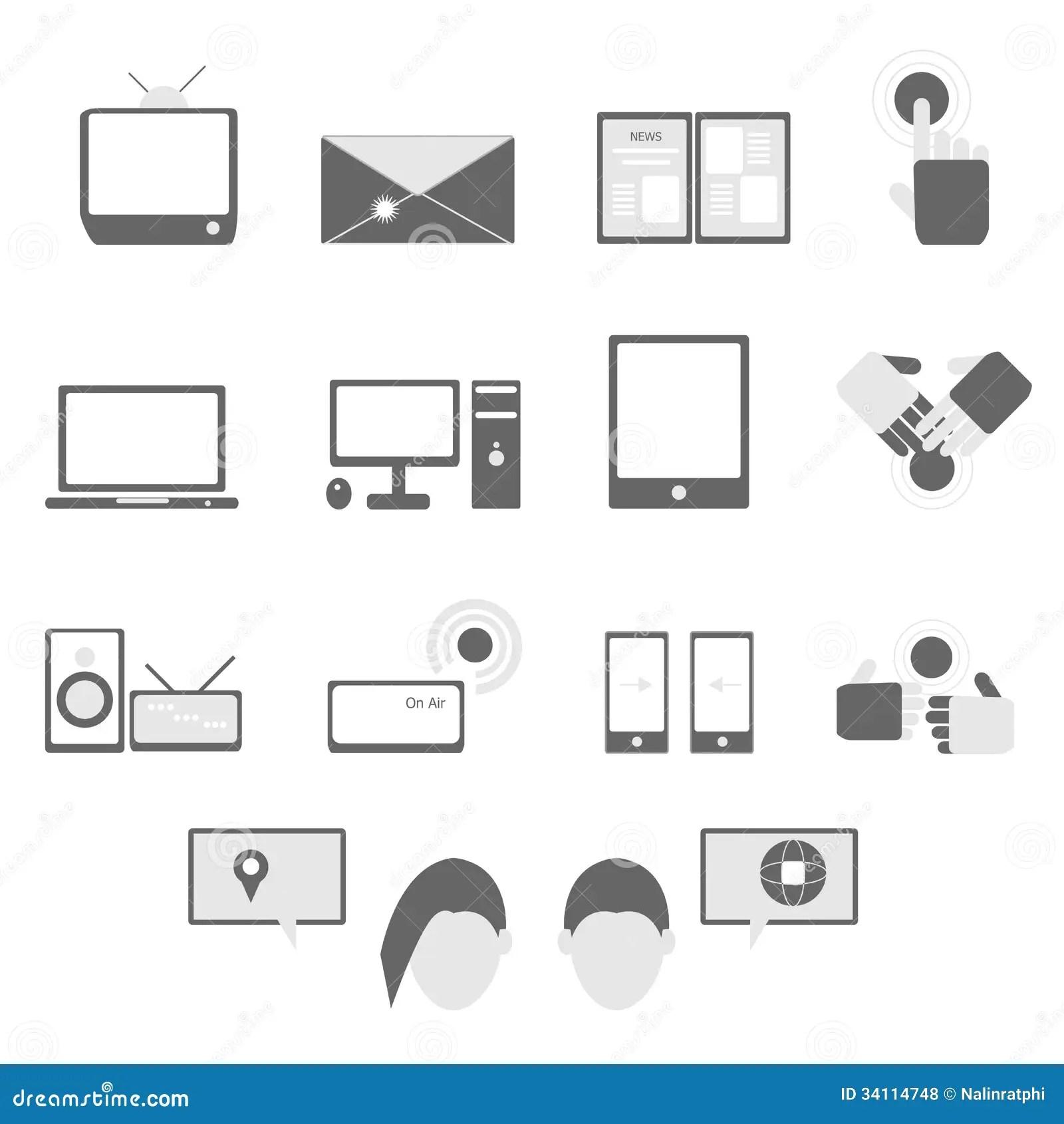 Media And Communication Icons On White Background Royalty