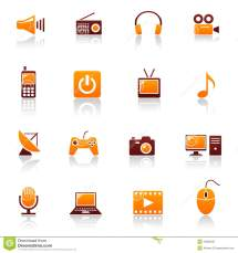 Media & Telecom Icons Royalty Free Stock