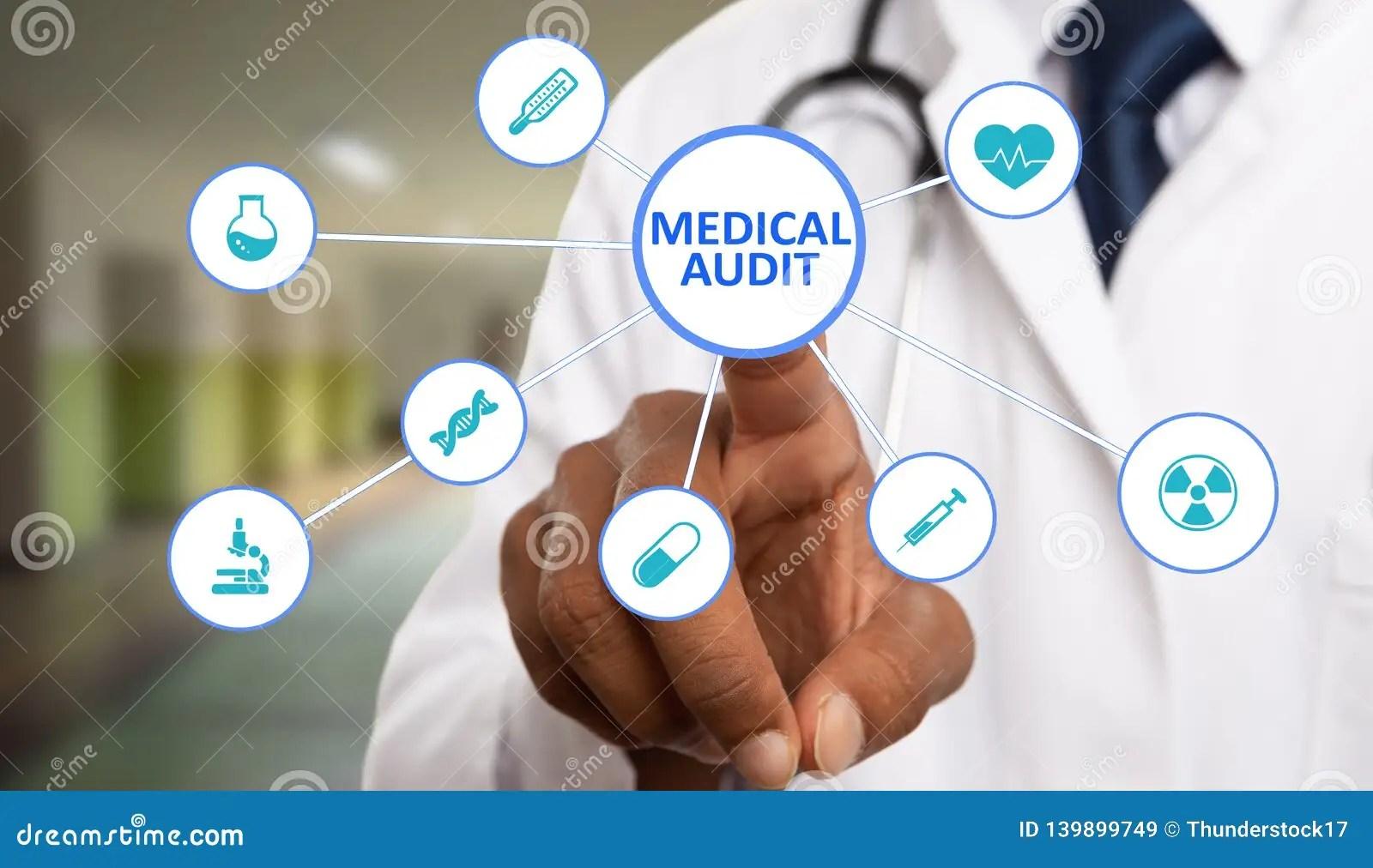 Medic Touching Medical Audit Text On Display Stock Image