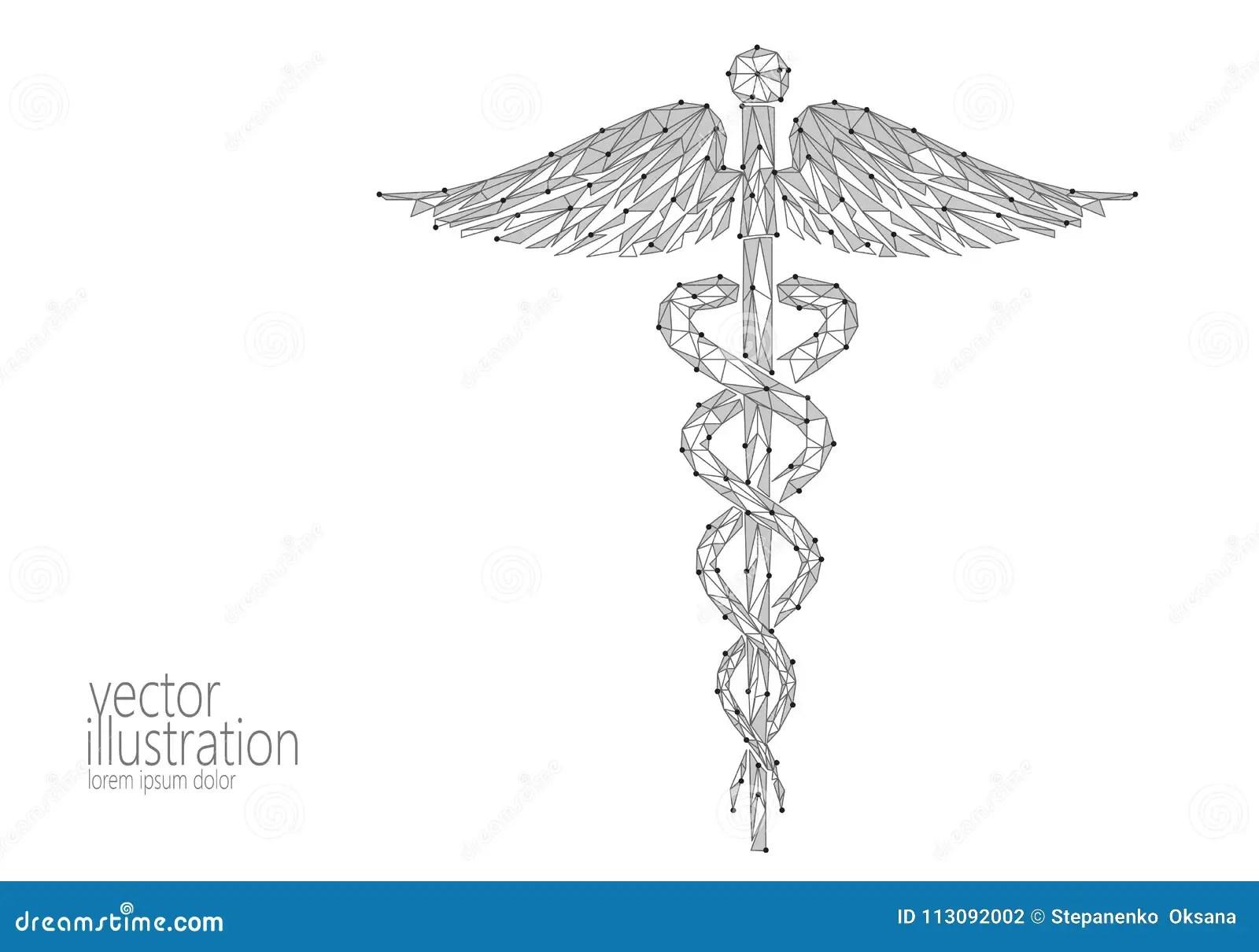 Medical Caduceus Symbol Low Poly Modern Design. Innovation