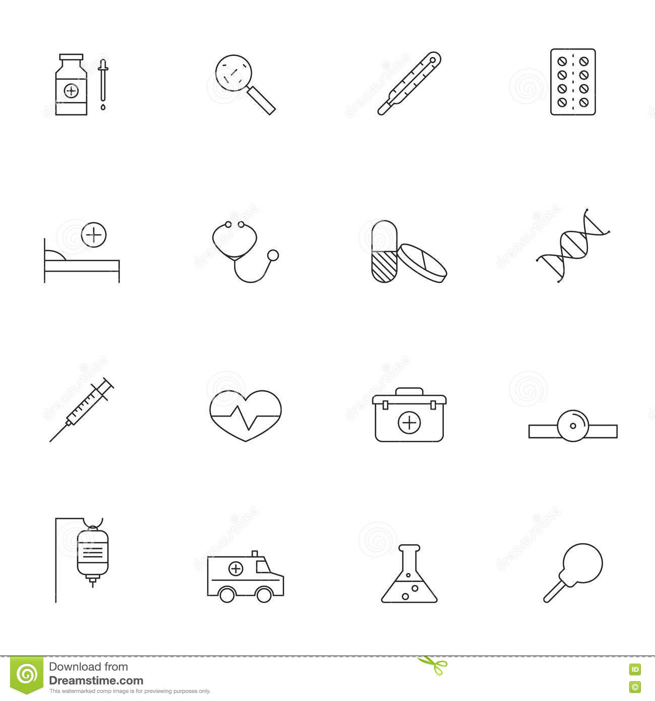 Chemistry Laboratory Vector Outline Icon Set Vector