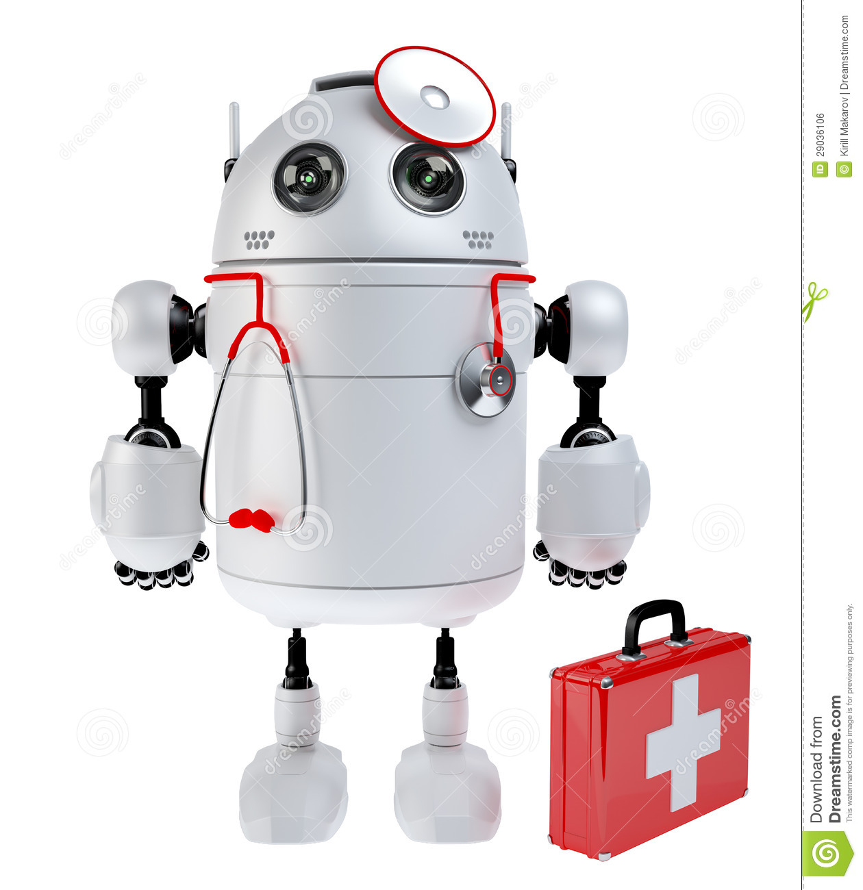 Medical Robot Robot With The First Aid Kit Stock Photo