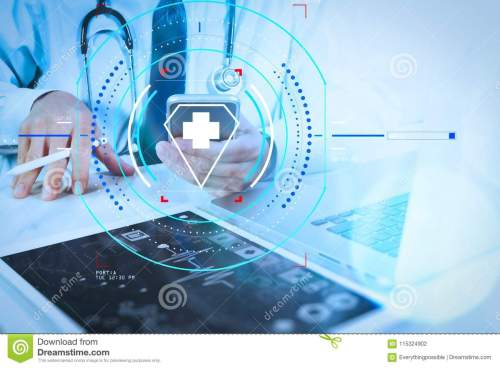 small resolution of health care and medical services with circular ar diagram doctor hand working with modern digital tablet and laptop computer with medical chart interface