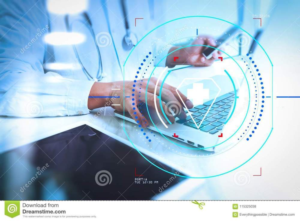 medium resolution of health care and medical services with circular ar diagram medical technology concept doctor hand working with modern digital tablet and laptop computer