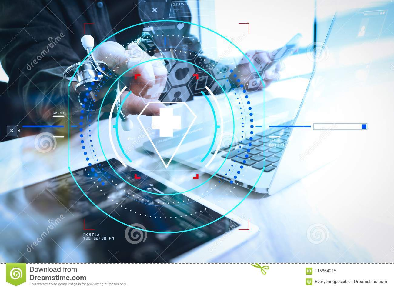 hight resolution of health care and medical services with circular ar diagram doctor hand working with modern digital tablet and laptop computer with medical chart interface