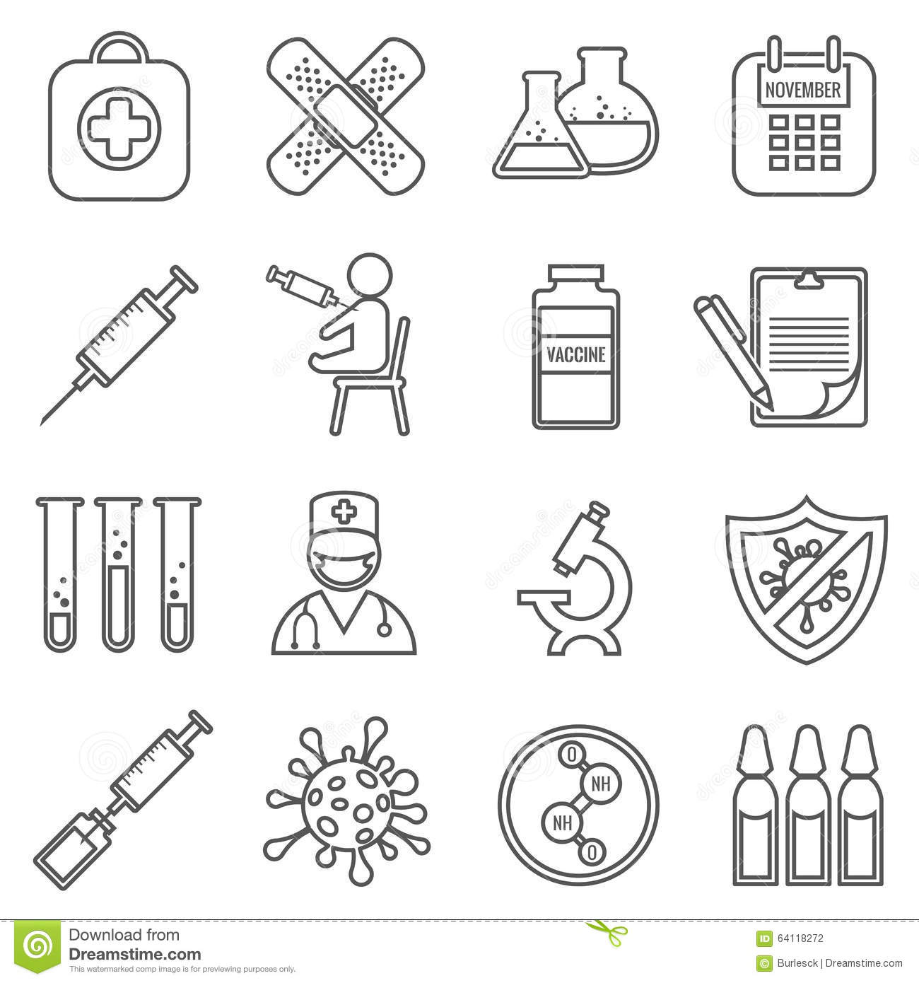 Medical Vaccinations Vector Outline Linear Icons Stock