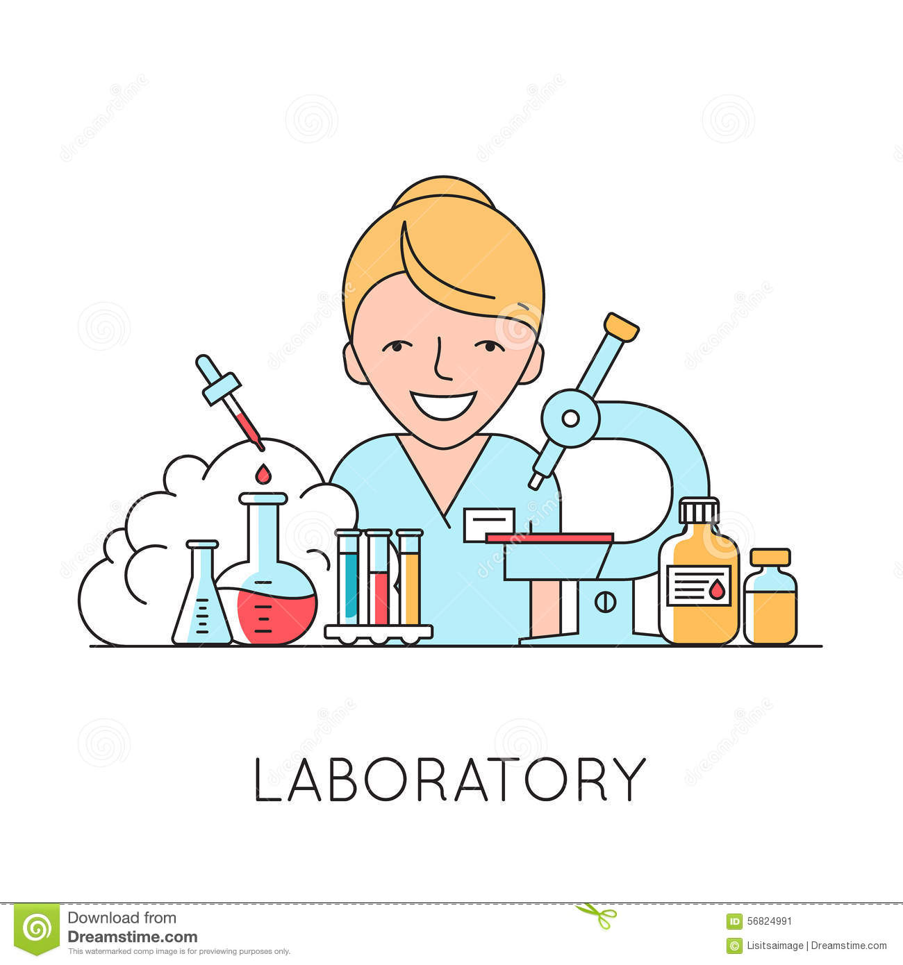 Medicine Background With Nurse Medical And Lab Equipments