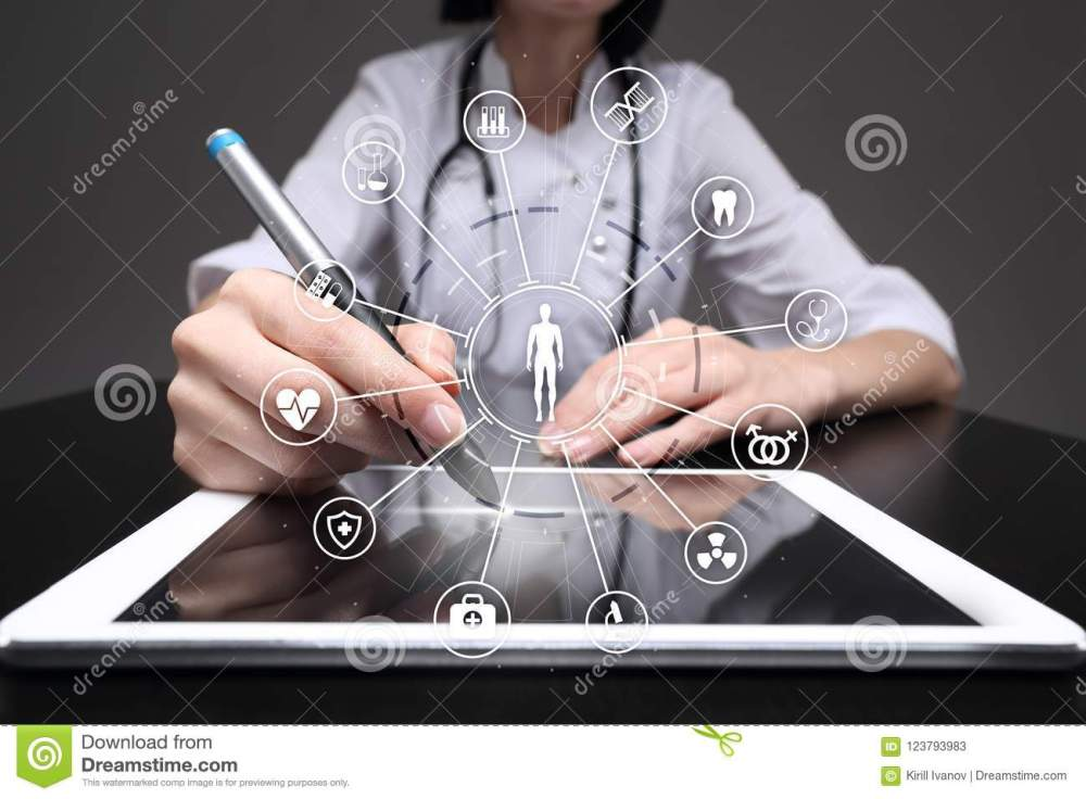 medium resolution of medicine doctor with modern computer virtual screen interface and icon medical network connection health care concept