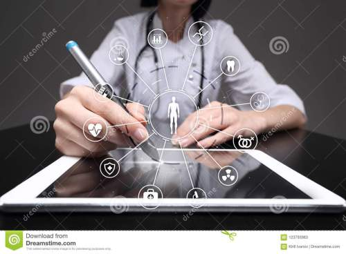 small resolution of medicine doctor with modern computer virtual screen interface and icon medical network connection health care concept