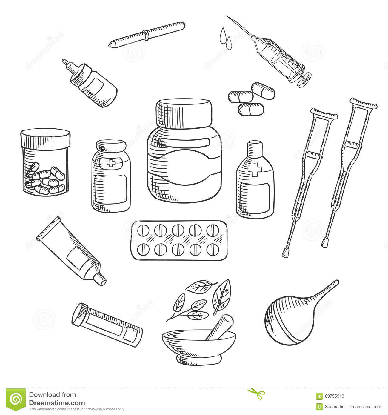 Medicine And Pharmacy Sketch Icon Stock Vector