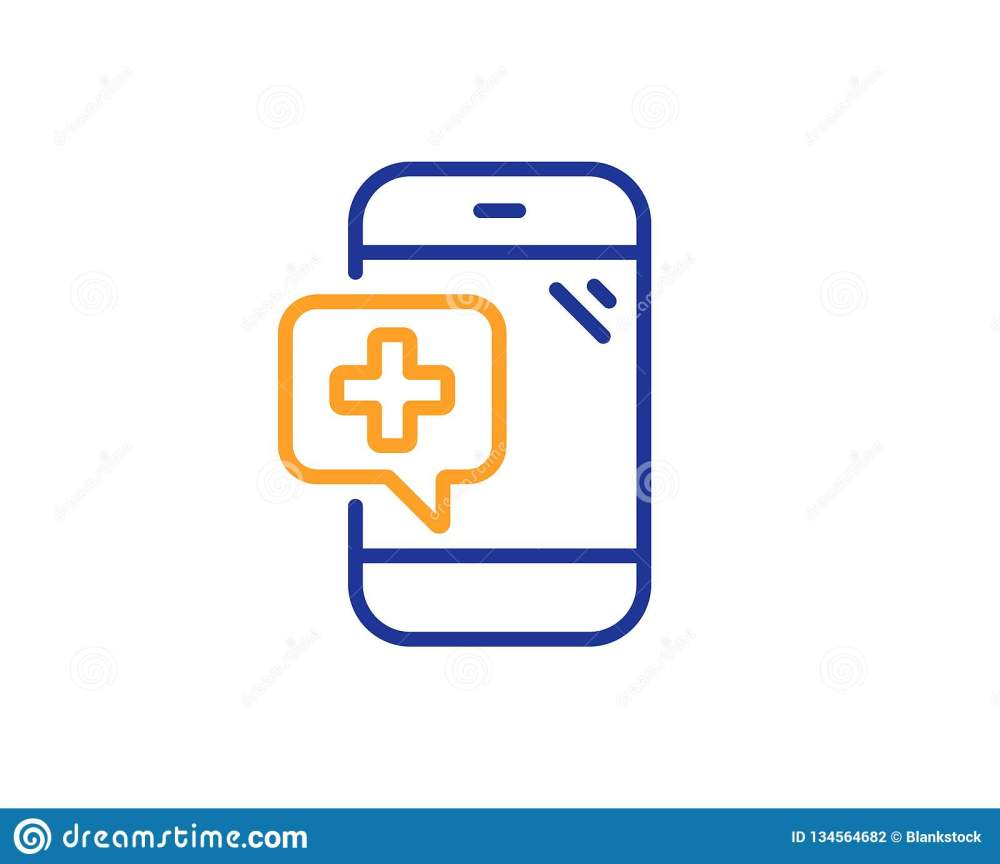 medium resolution of medicine phone line icon mobile medical help sign colorful outline concept blue and orange thin line color medical phone icon vector