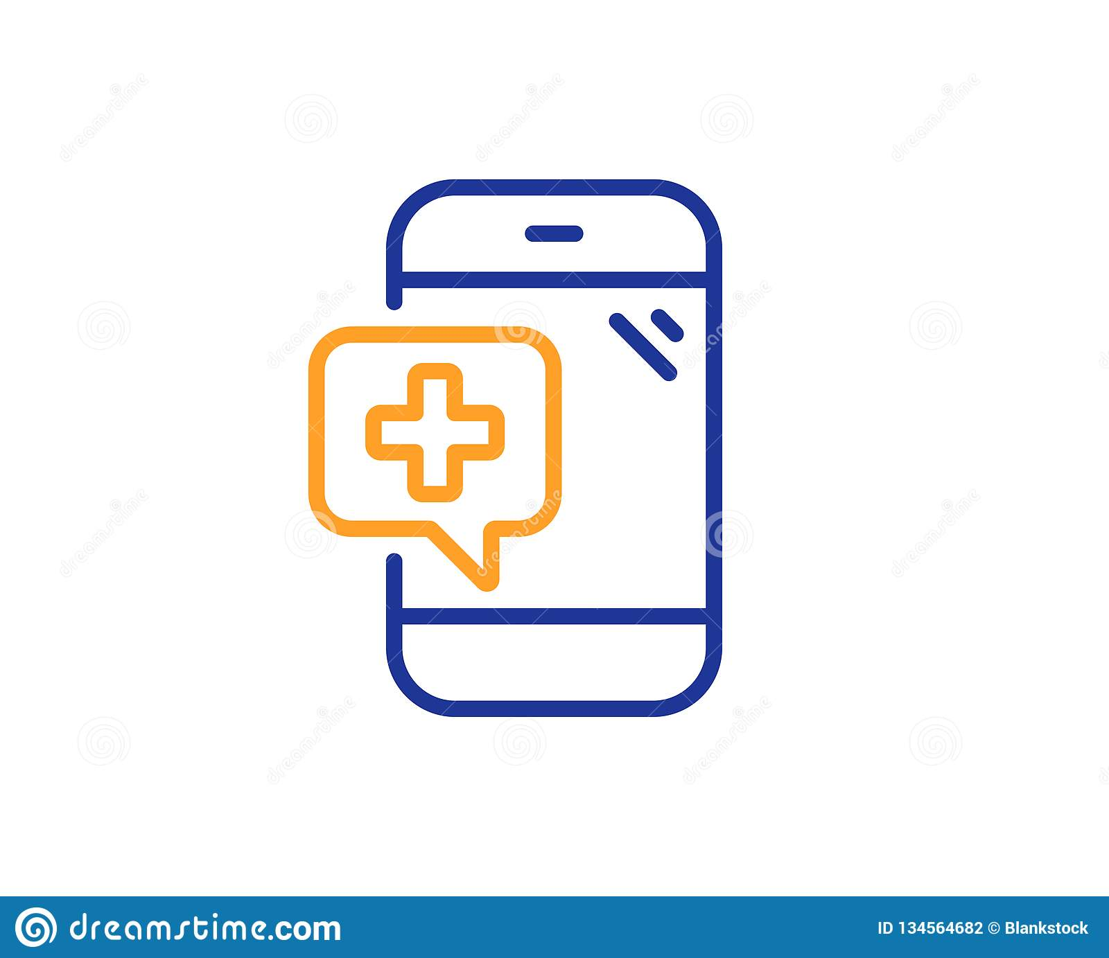 hight resolution of medicine phone line icon mobile medical help sign colorful outline concept blue and orange thin line color medical phone icon vector