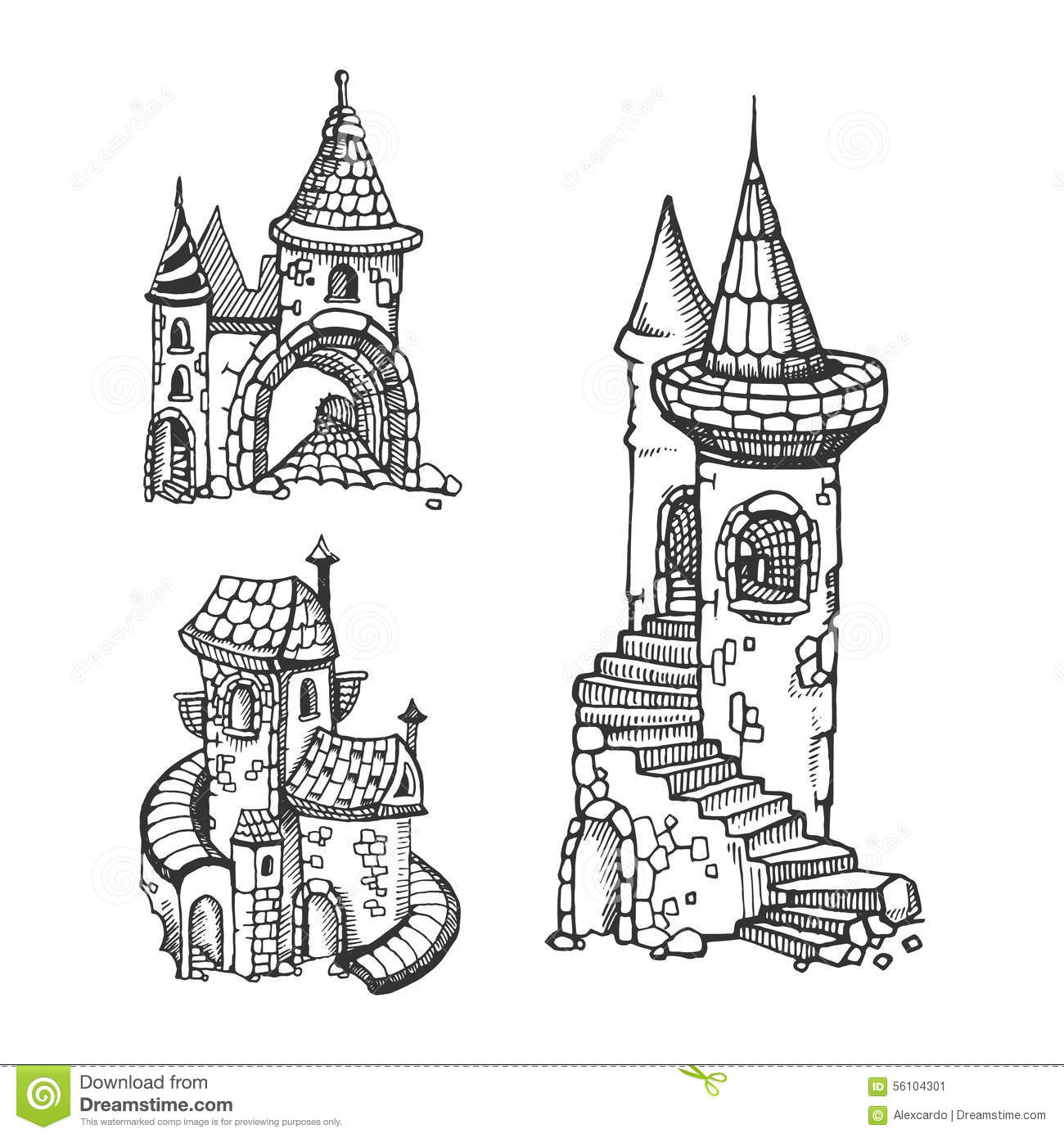 Medieval castles stock vector. Illustration of