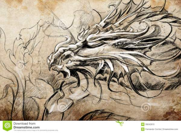 Medieval Dragon Stencil - Year of Clean Water