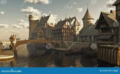 fantasy medieval docks royalty town 3d illustration dreamstime waterside digitally rendered