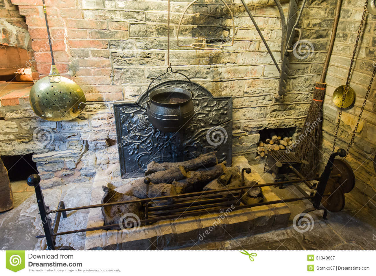 Medieval Fireplace Royalty Free Stock Photography Image
