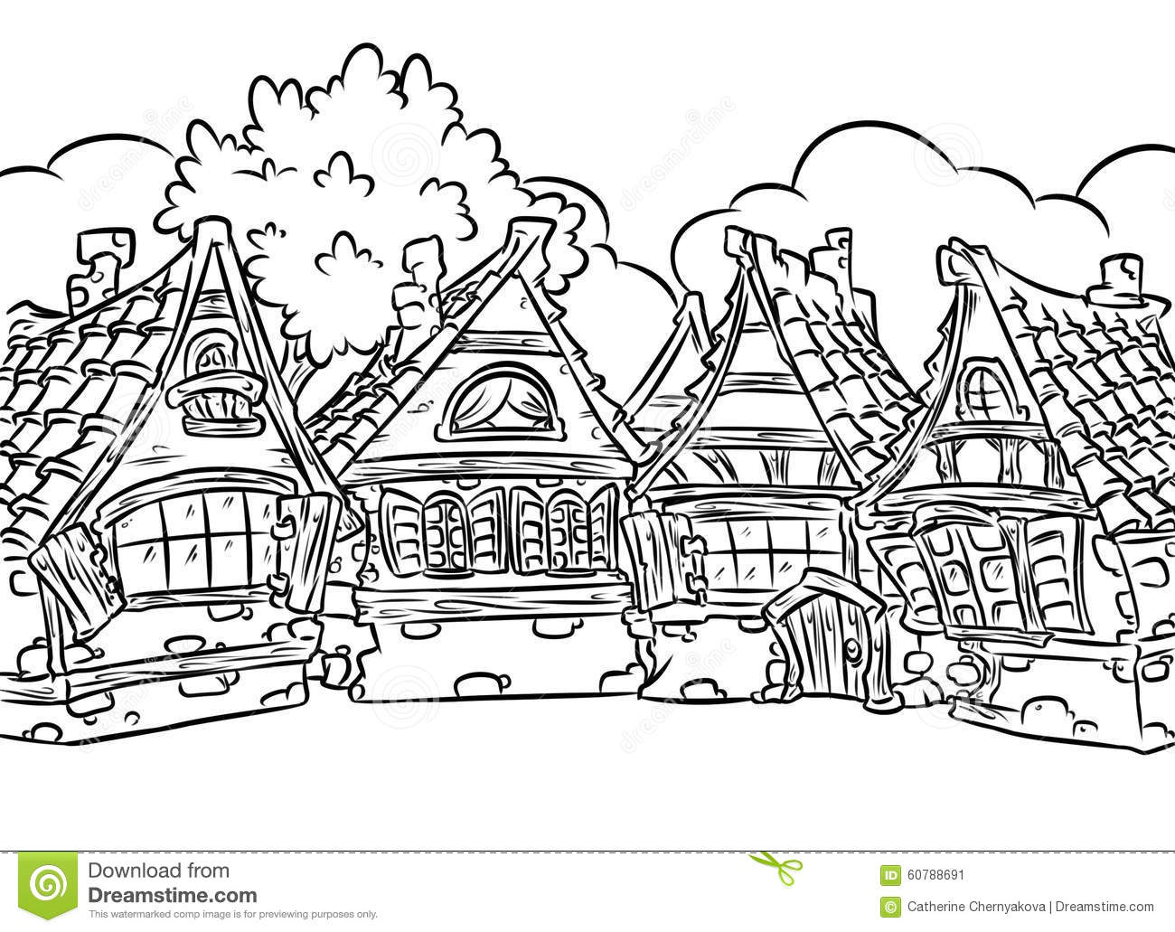 Medieval Half-timbered Houses Village Coloring Page
