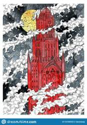 Medieval Scary Castle Tower In Clouds Against Full Moon At Night Stock Illustration Illustration of gothic heraldic: 161650333