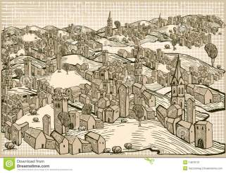 Medieval town stock illustration Illustration of paper 14676131