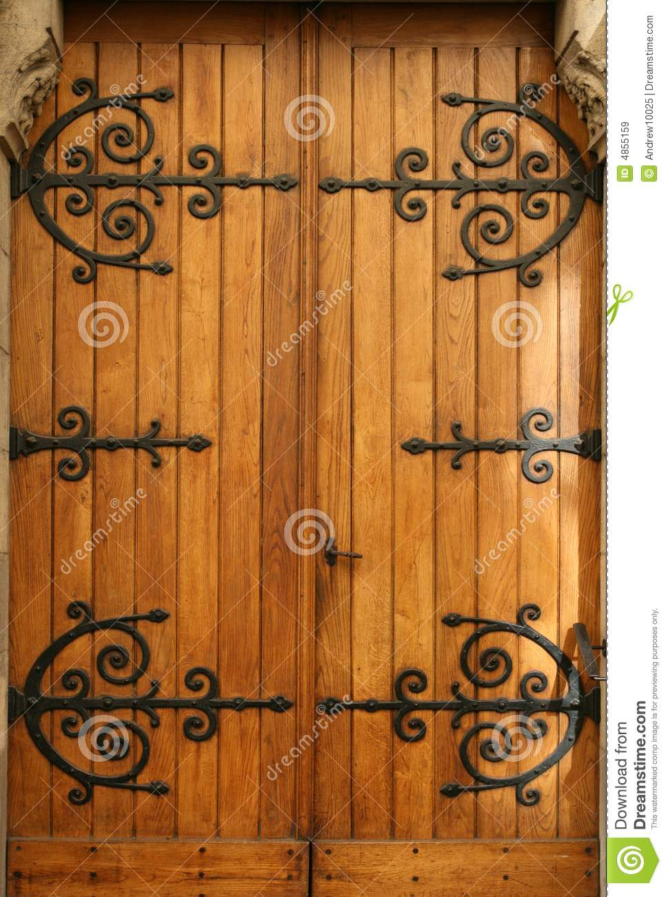 Medieval Wood Door Wroughtiron Details Stock Image