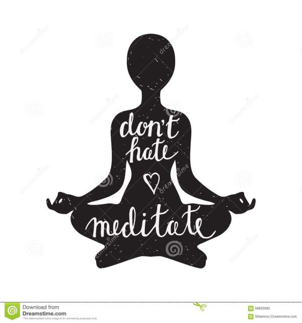 Meditation Silhouette With Quote Stock - 58693982