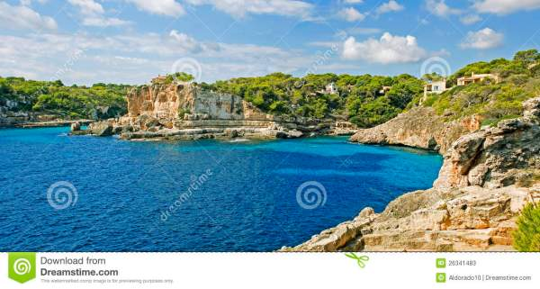 Mediterranean Bay stock image. Image of mountains, clouds ...