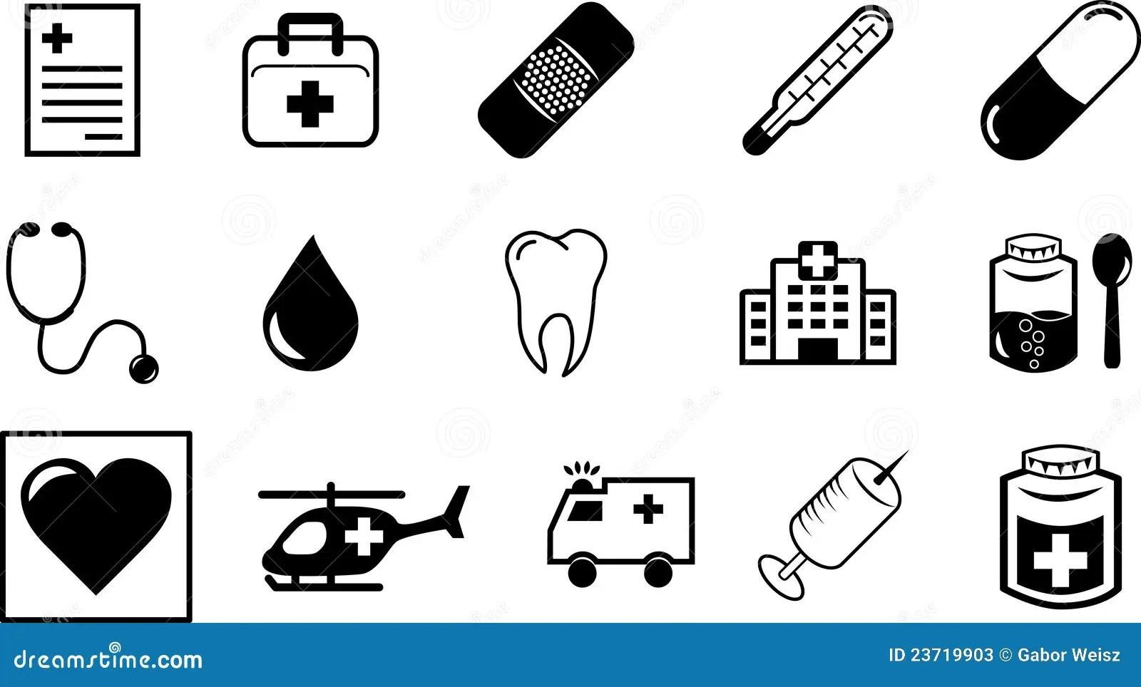 Medizinische Symbole Und Ikonen Stockfotos