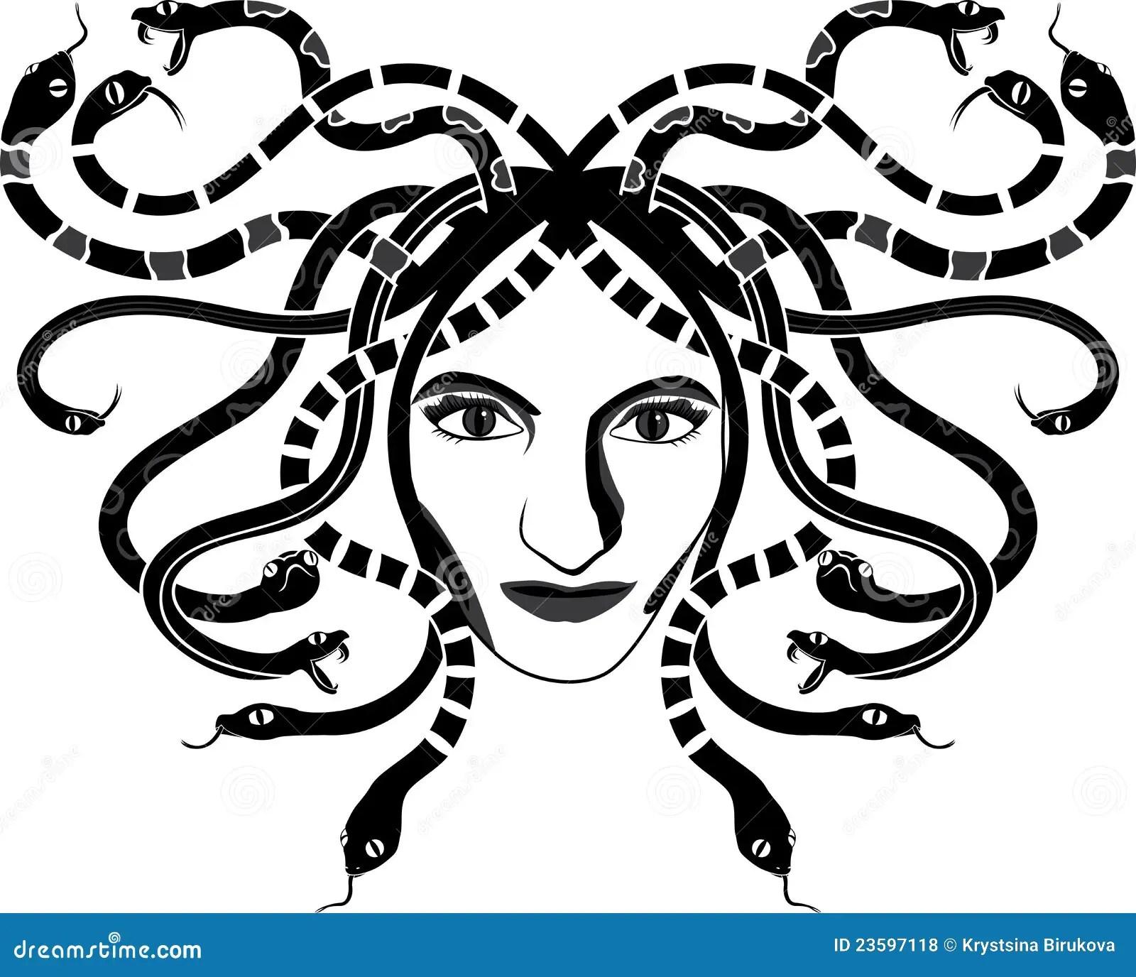 Medusa Gorgona Head Stock Vector Illustration Of
