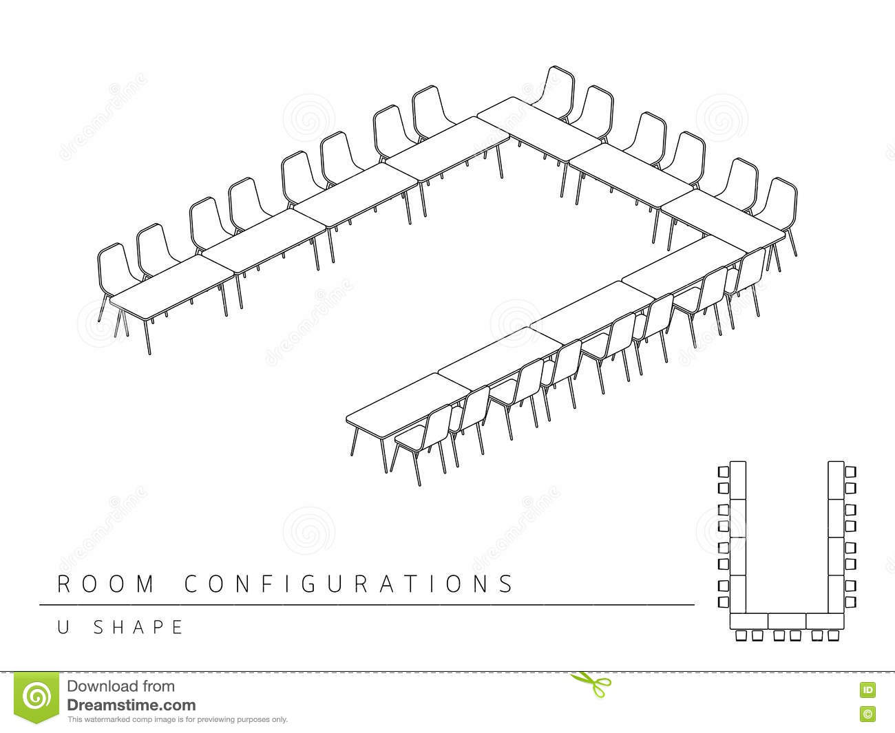 Meeting Room Setup Layout Configuration U Shape Style Stock Vector