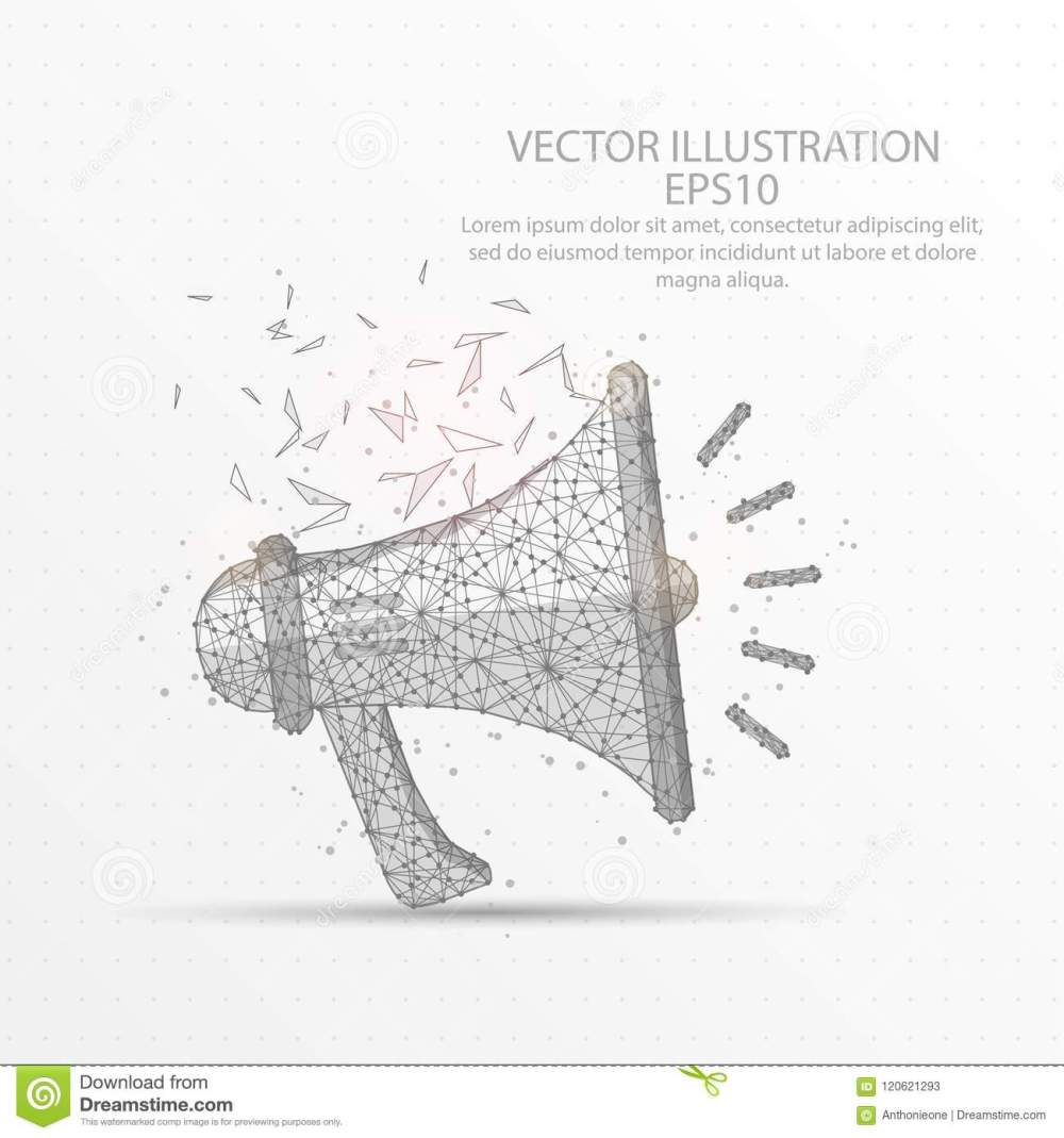 medium resolution of megaphone speaker low poly wire frame on white background stock rh dreamstime com