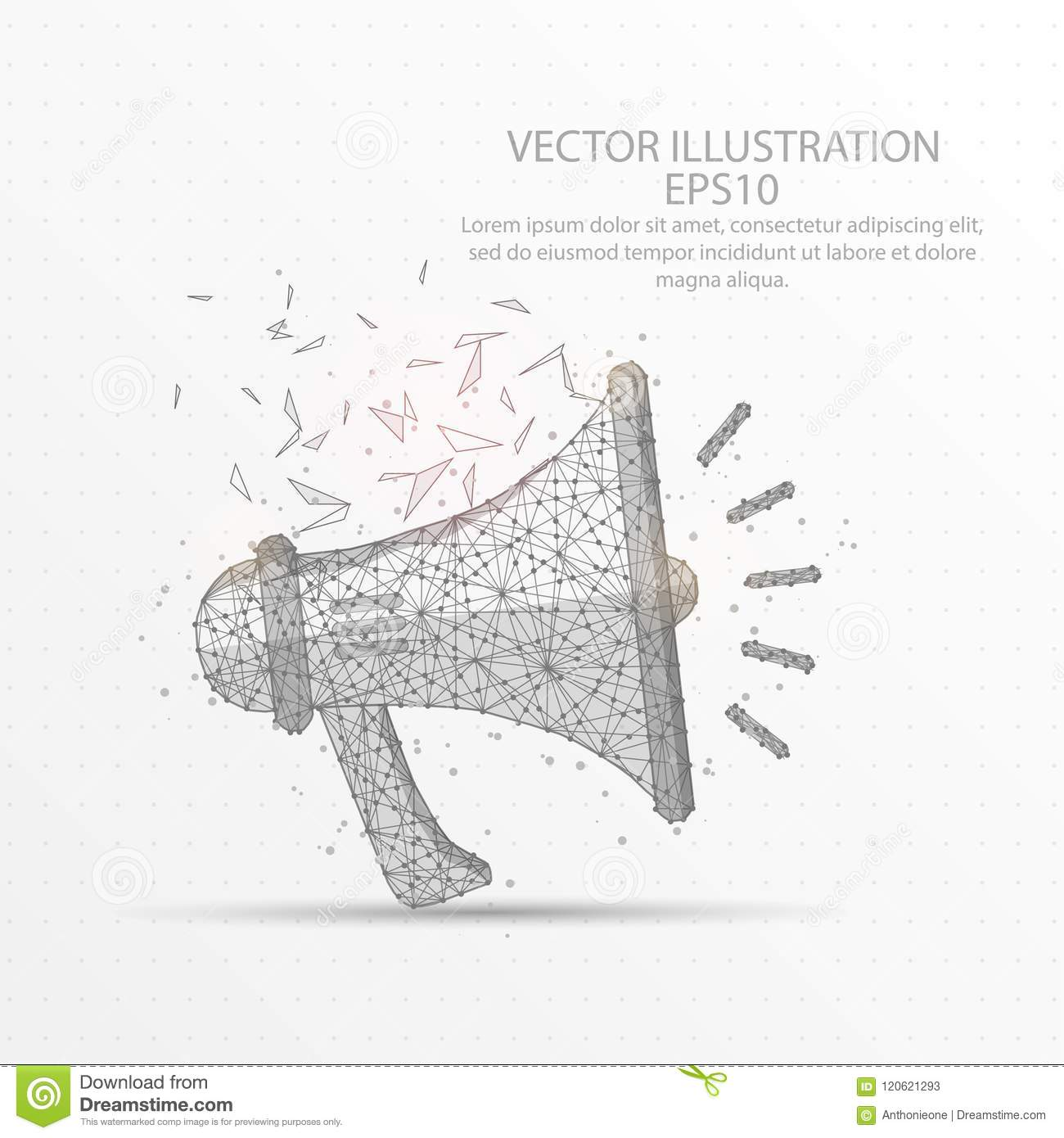 hight resolution of megaphone speaker low poly wire frame on white background stock rh dreamstime com