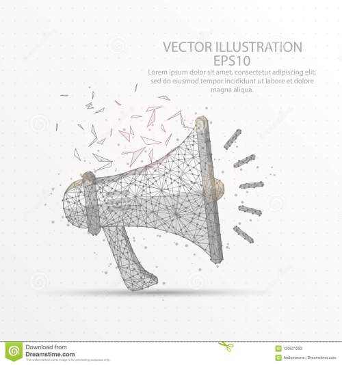 small resolution of megaphone speaker low poly wire frame on white background stock rh dreamstime com