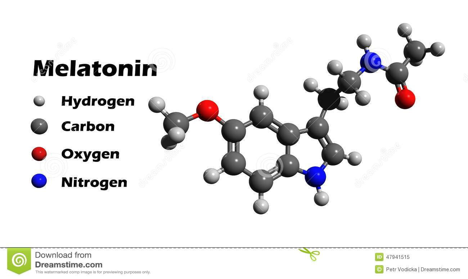Melatonin 3d Structure Stock Illustration