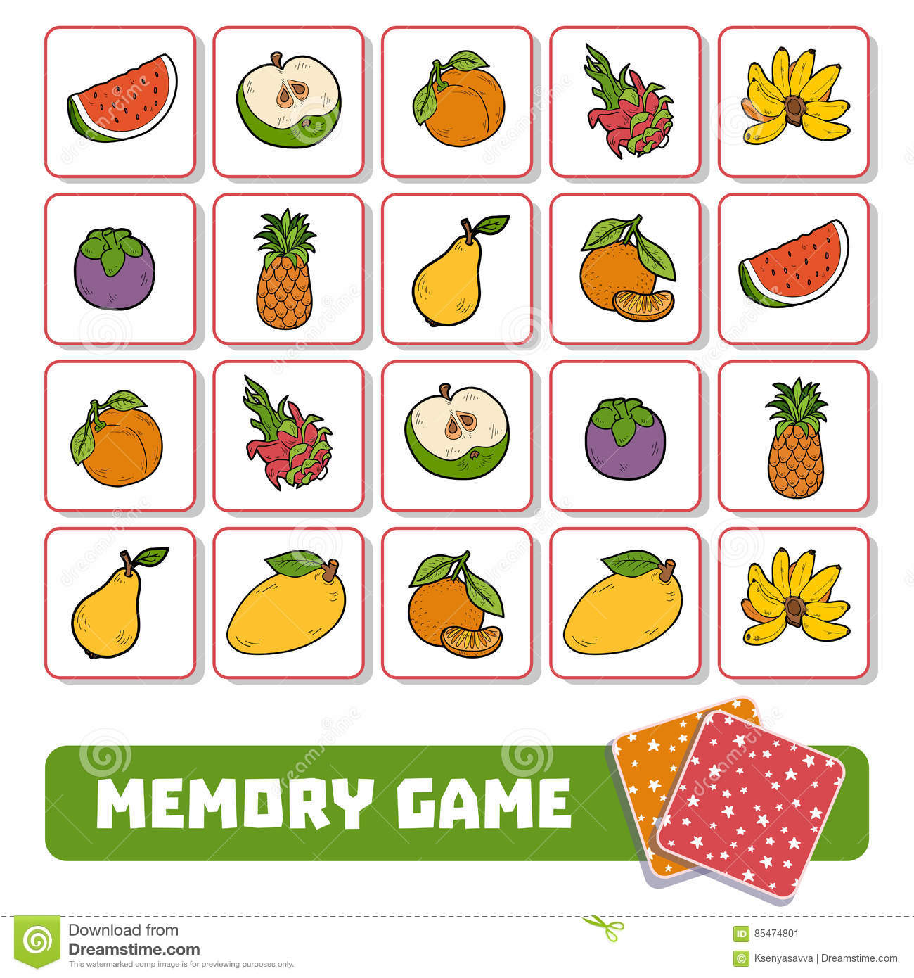 Memory Game For Children Cards With Fruits Stock Vector