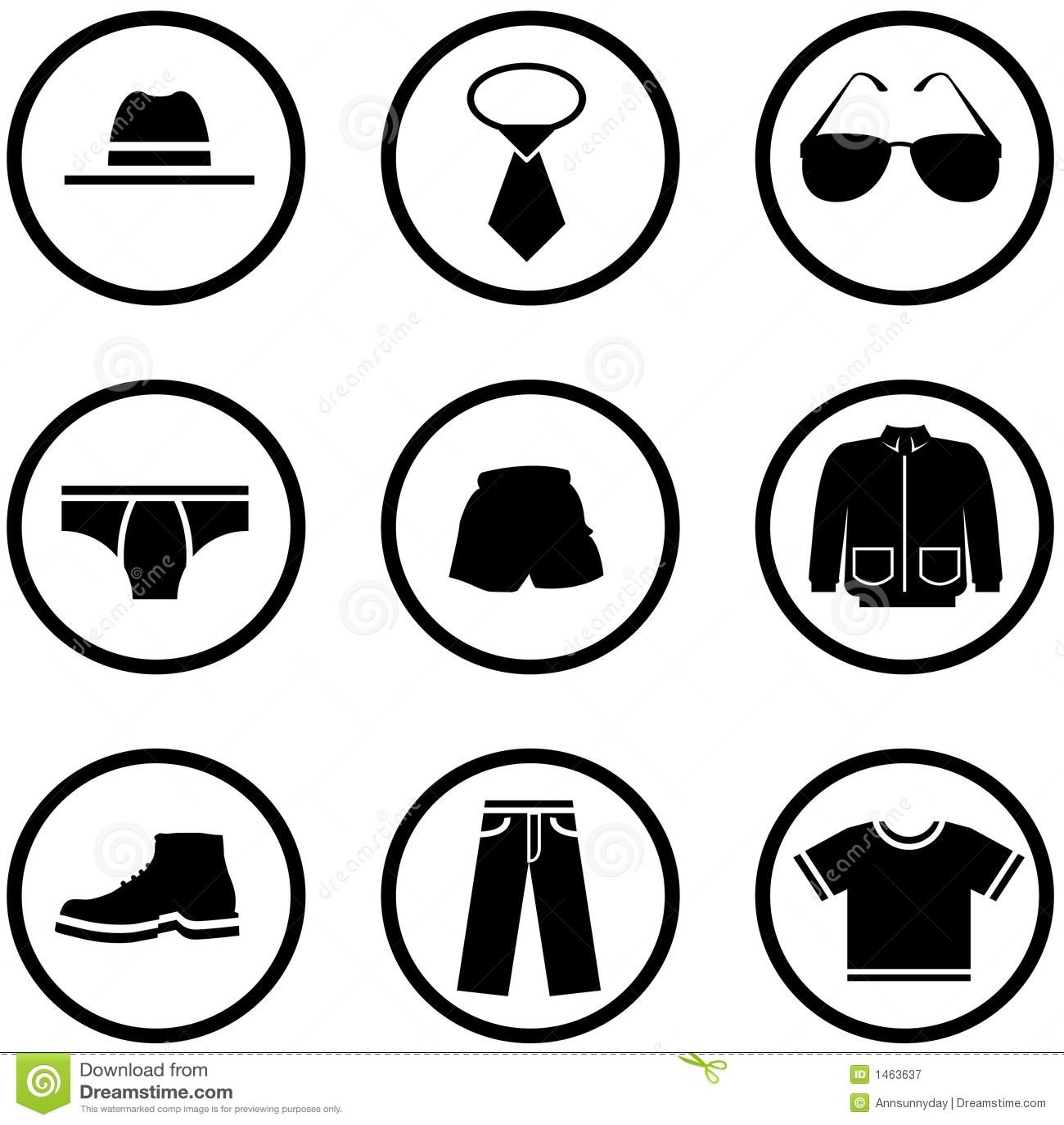 Men Clothes Icon Set Royalty Free Stock Photography