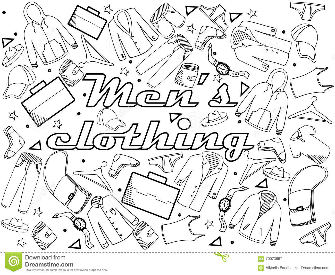 Men Clothing Coloring Book Vector Illustration Stock