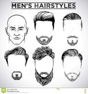 men hairstyles stock vector. illustration