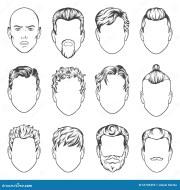 men hairstyles. vector illustration