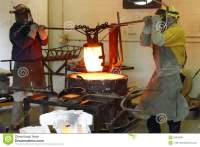 Men Working In The Foundry Hot Furnace Royalty Free Stock ...