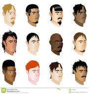 straight hair men faces cartoon