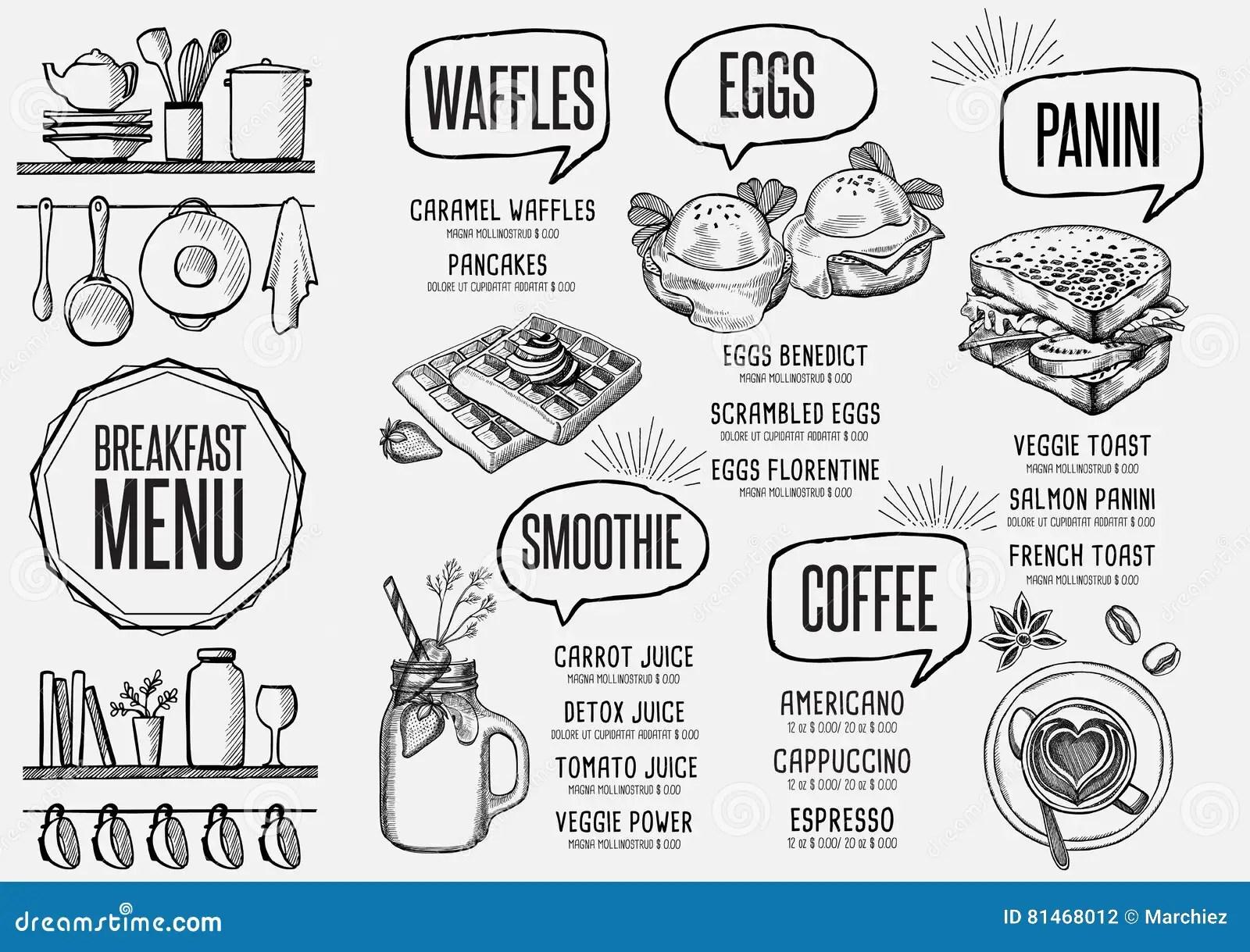 Menu Breakfast Restaurant, Food Template Placemat. Stock