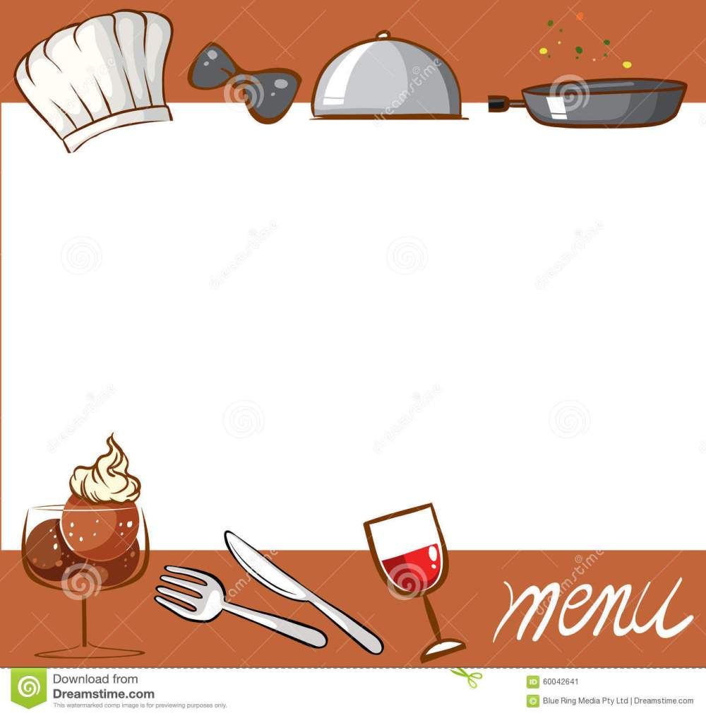 medium resolution of menu design with culinary objects