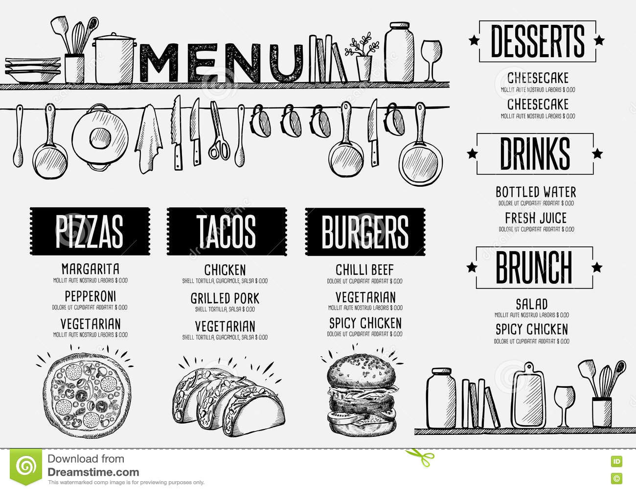 Menu Restaurant, Food Template Placemat. Stock Vector
