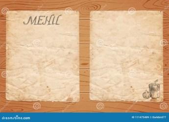 Menu Of Restaurant With Vegetables On Old Paper And Wooden Background Stock Illustration Illustration of cafe design: 111475489