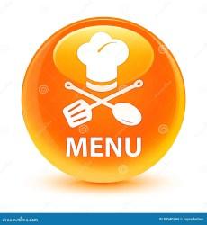 glassy restaurant icon orange round button menu