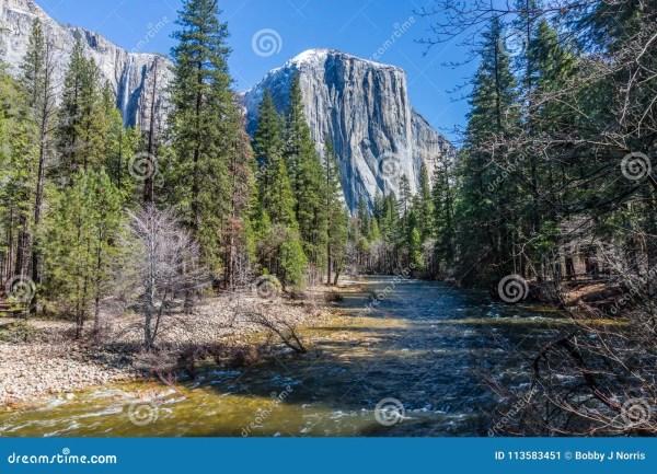 Merced River And El Capitan In Yosemite National Park Stock - Of Climbing